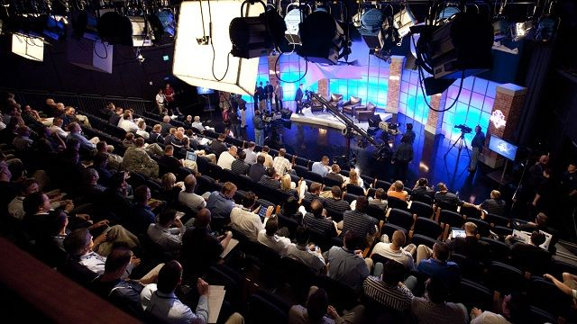 view of a live studio audience during a TV show taping
