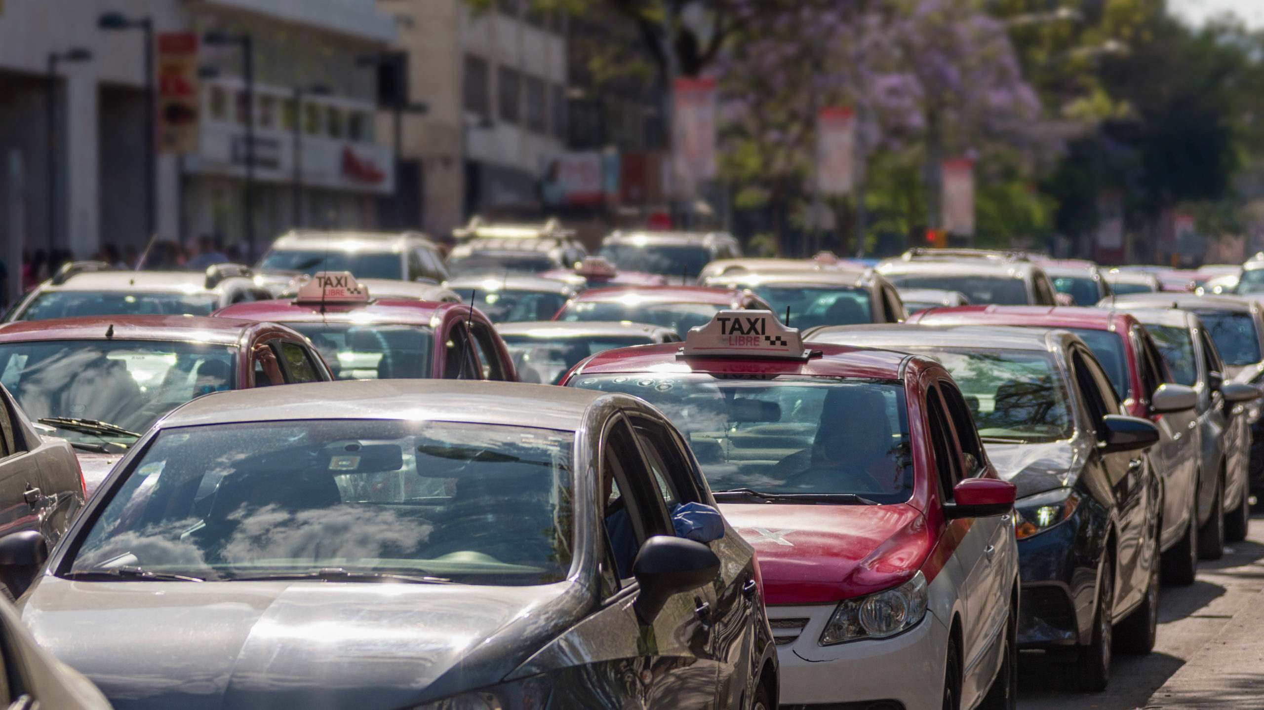 taxis in traffic - Mexico City