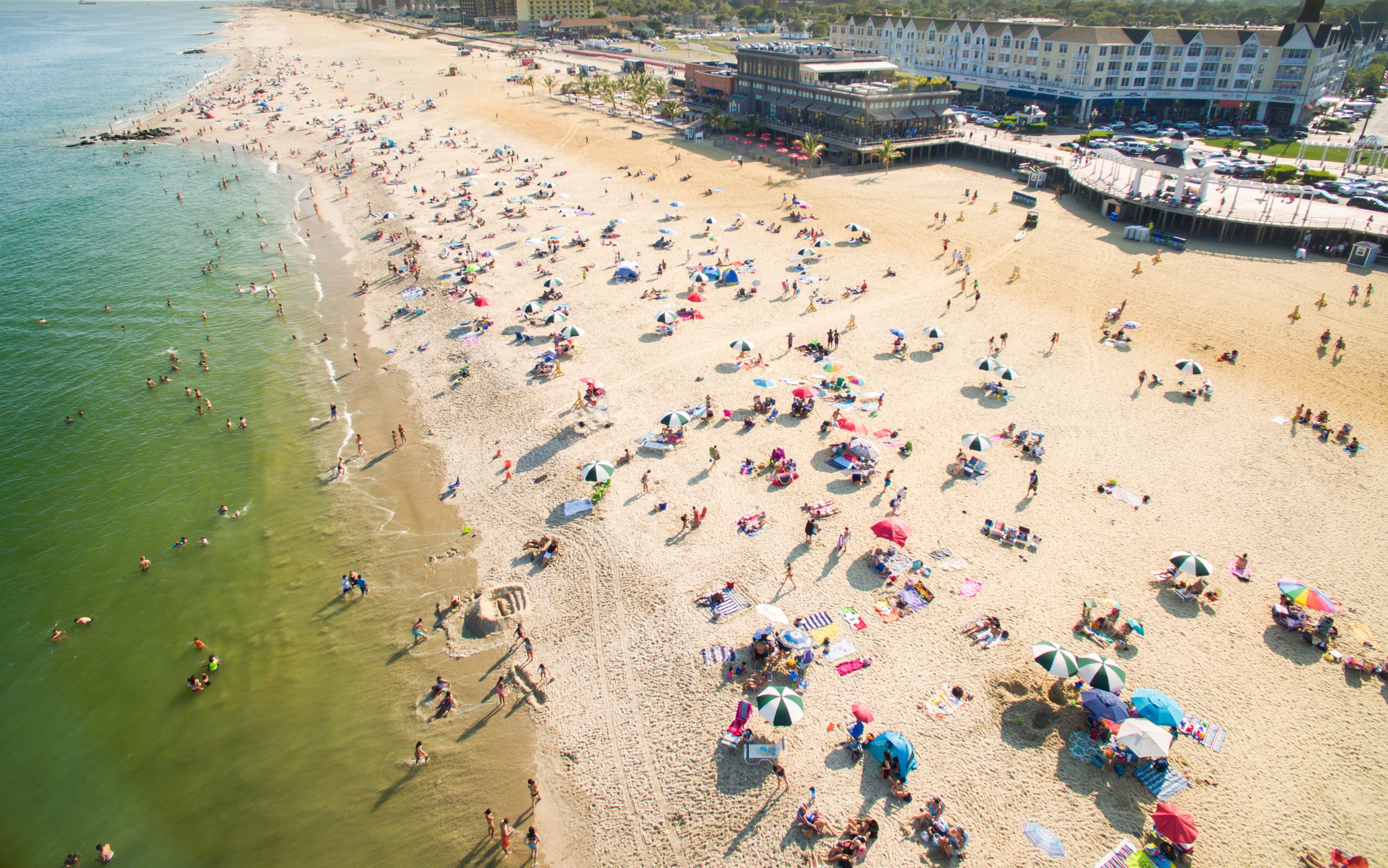 aerial shot of the beach at the jersey shore