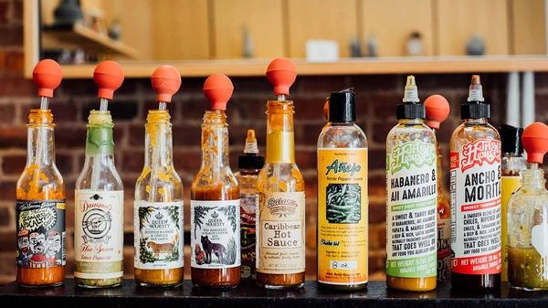 Array of different hot sauces