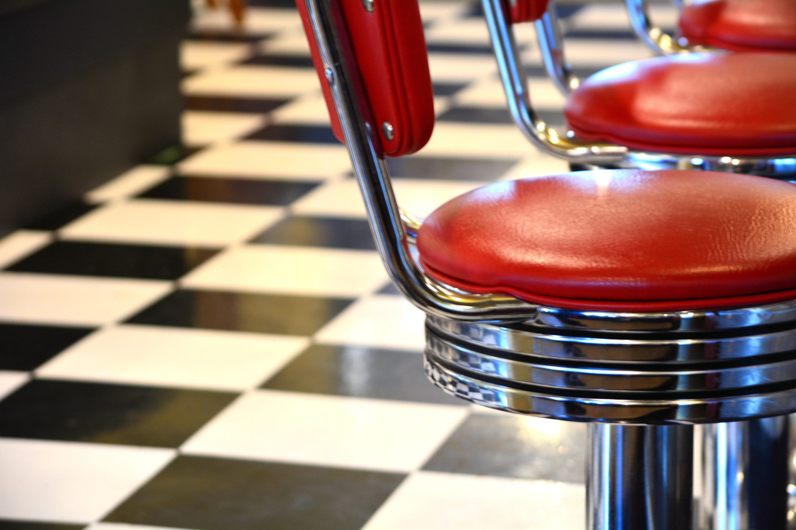 stools in an old fashioned diner